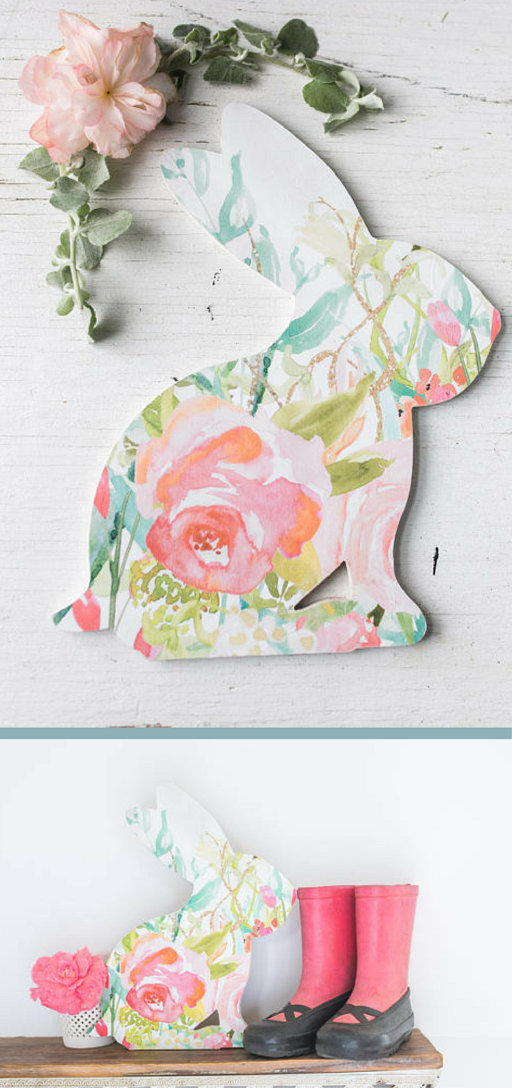 Boho Wall Decor. Watercolor Flower. Wood Sign. Floral Print, Easter Bunny  Sign, Easter Decor, Spring Decor, Floral Easter Decor, Floral Nursery ...