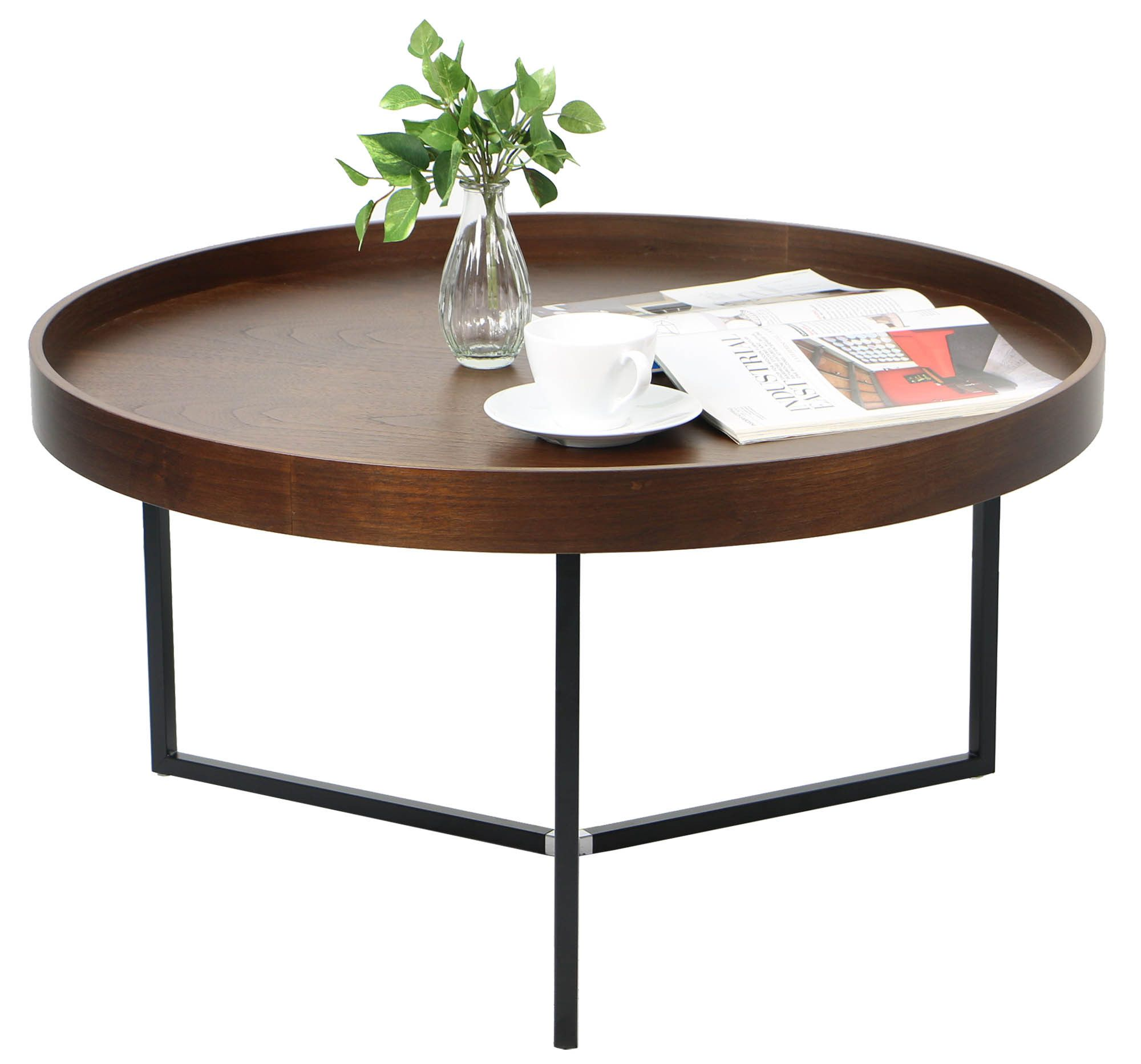 Barrie Walnut Round Tray Table Coffee Tables Living