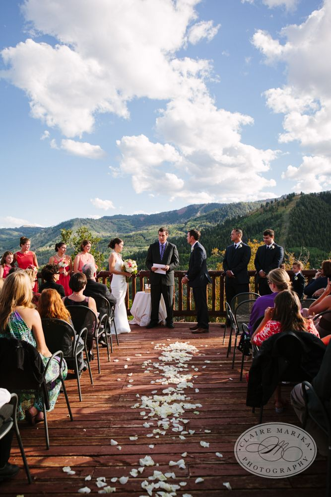 Rustic Wedding Ceremony At Lookout Cabin Canyons Resort Park City Ut Photo Claire Marike Mountainwedding