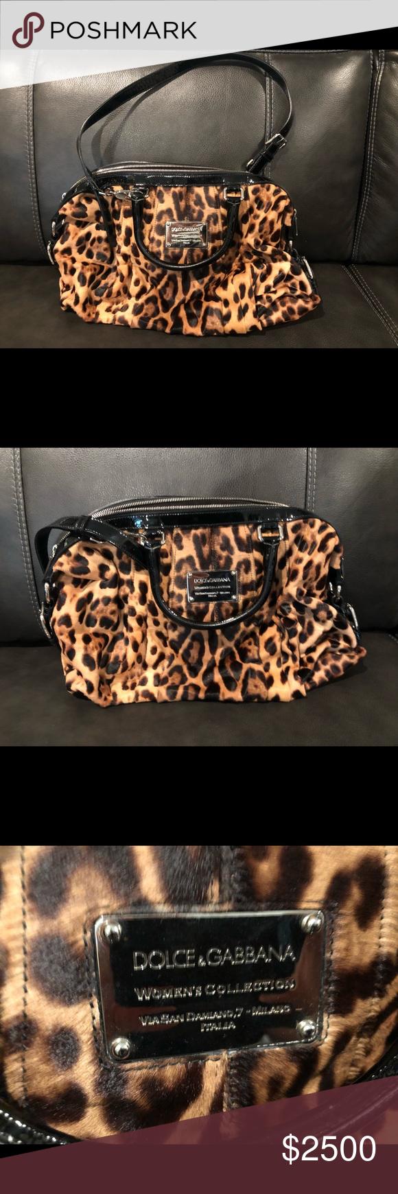 73200943b639 Genuine & Vintage Dolce&Gabbana Miss Urbanette Authentic Genuine & Vintage  Dolce&Gabbana Leopard Print Miss Urbanette Beige Calfhair & Fabric Satchel  ...