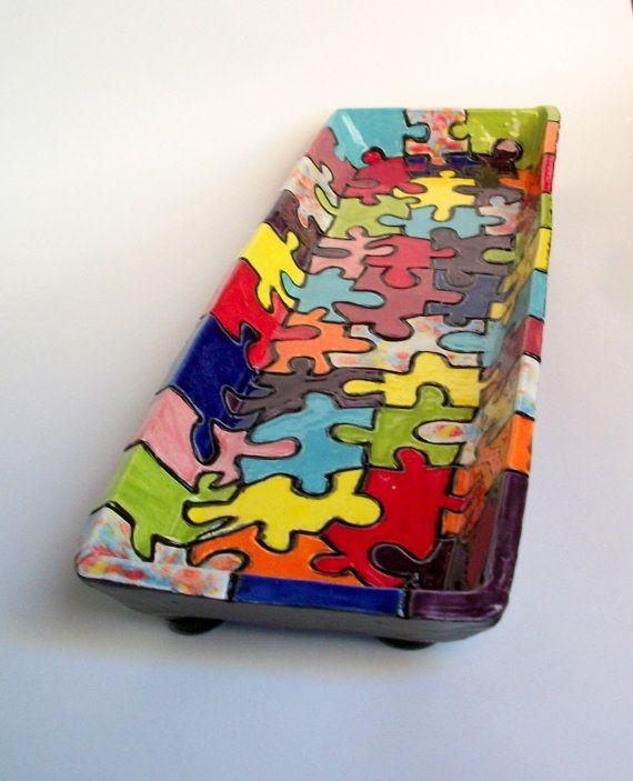 ceramic serving dish colorful carved puzzle design. Black Bedroom Furniture Sets. Home Design Ideas