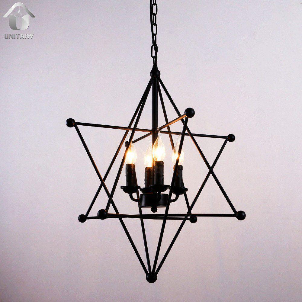 Black Vintage 8 Point Star Shape Hanging Ceiling Chandelier Lighting With 4 Lights