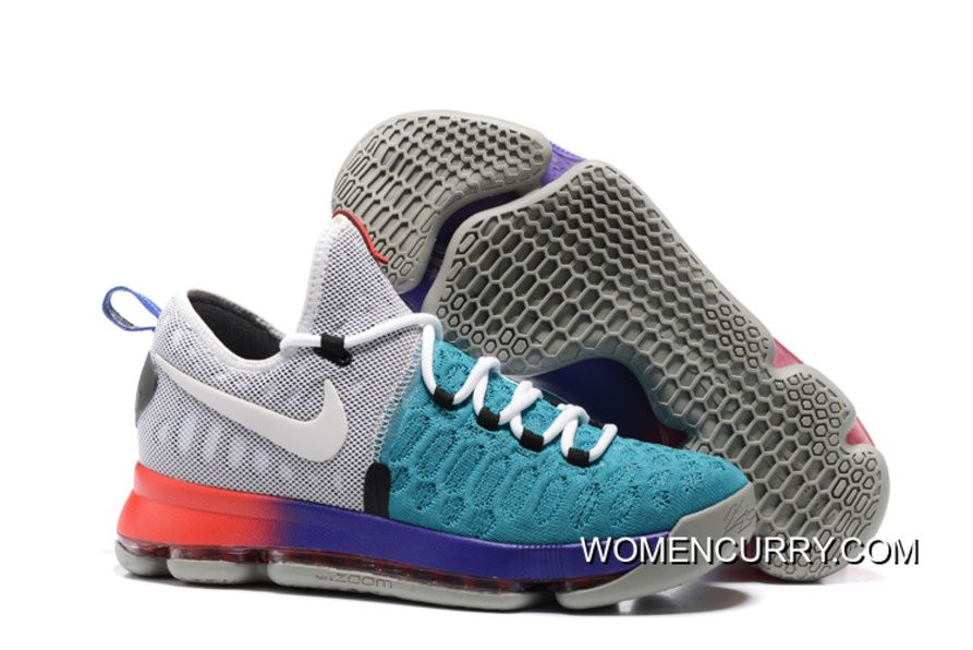 09491c911bb9 Nike KD 9 Light Grey White-Aqua Men s Basketball Shoes New Style