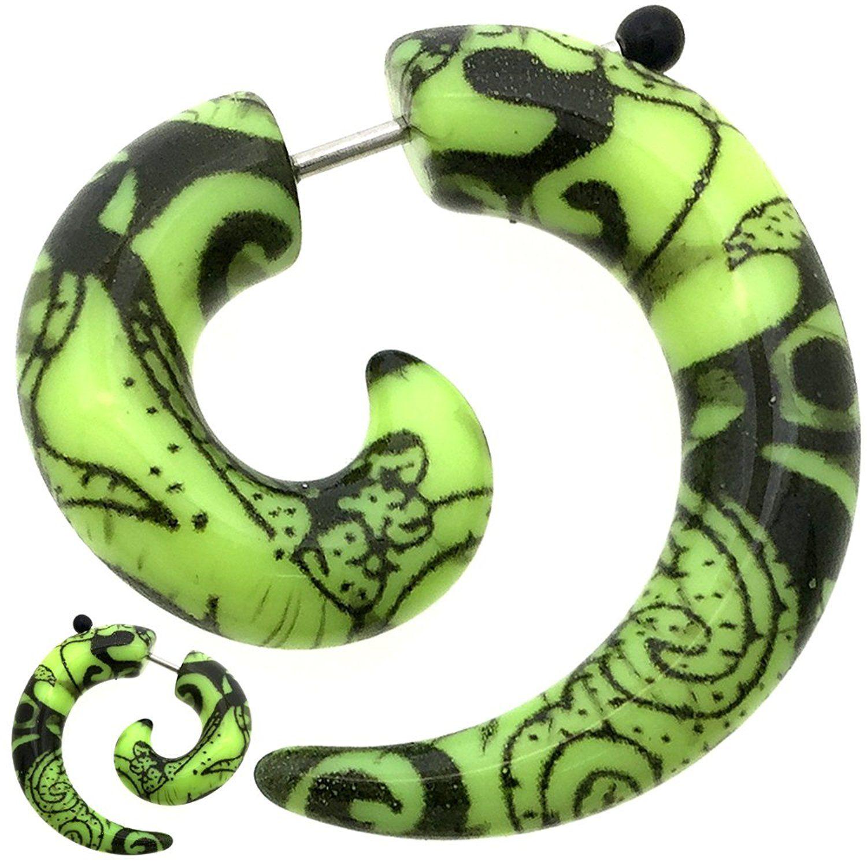 8g to 0g Fake Ear Plug Earring Spiral Claw Stretcher Expander fit Ear Plug MoDTanOiz Stem 8mm 1.2mm 3mm 16g