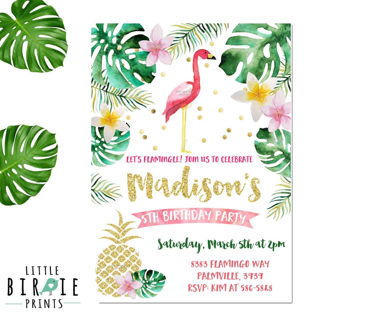 Flamingo Birthday Invitation Pineapple Birthday Invitation – Flamingo Birthday Invitations