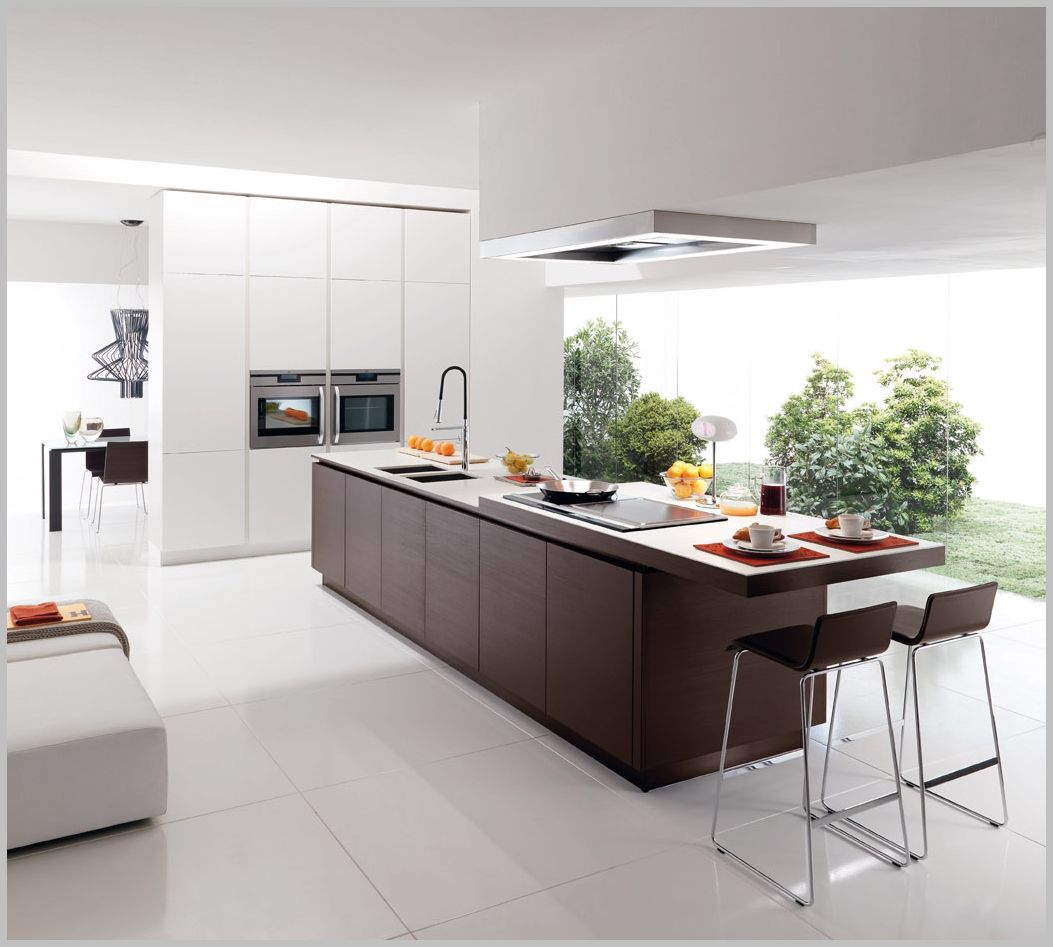 Minimalist Kitchen With Wooden Island  Kitchen & Dinning 2 Pleasing Kitchen With Islands Designs Inspiration