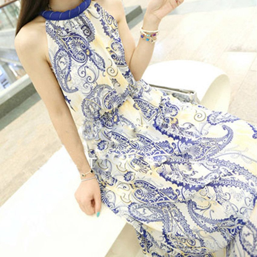 29b52e81c36 Vintage blue and white porcelain one-piece dress halter-neck print chiffon tank  dress