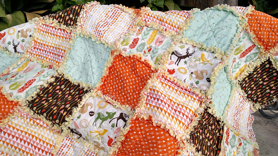 Rag Quilt, Rag Quilts for Sale, Feathers Arrows and Woodland ... : lap quilts for sale - Adamdwight.com