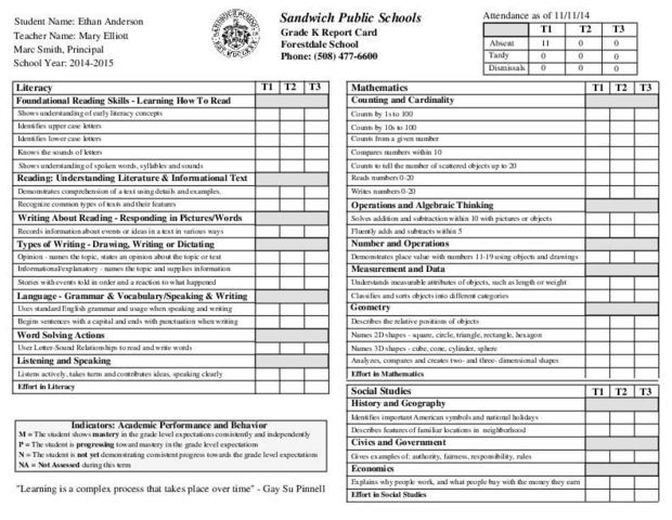 Kindergarten Report Card Kindergarten Report Cards Report Card Template School Report Card