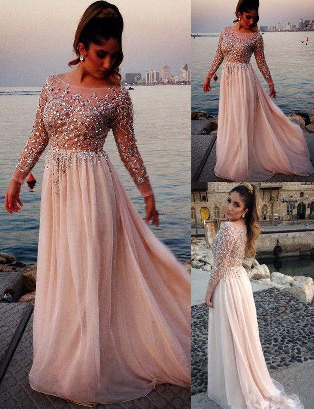 Elegant Lang Strass Abendkleider mit langen Ärmeln