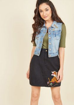 Green Curry and Growlers Denim Skirt