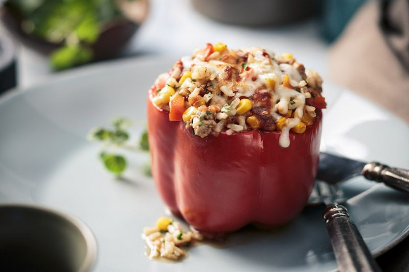 Indulge and still stay healthy with our Rice & Turkey Stuffed Peppers!