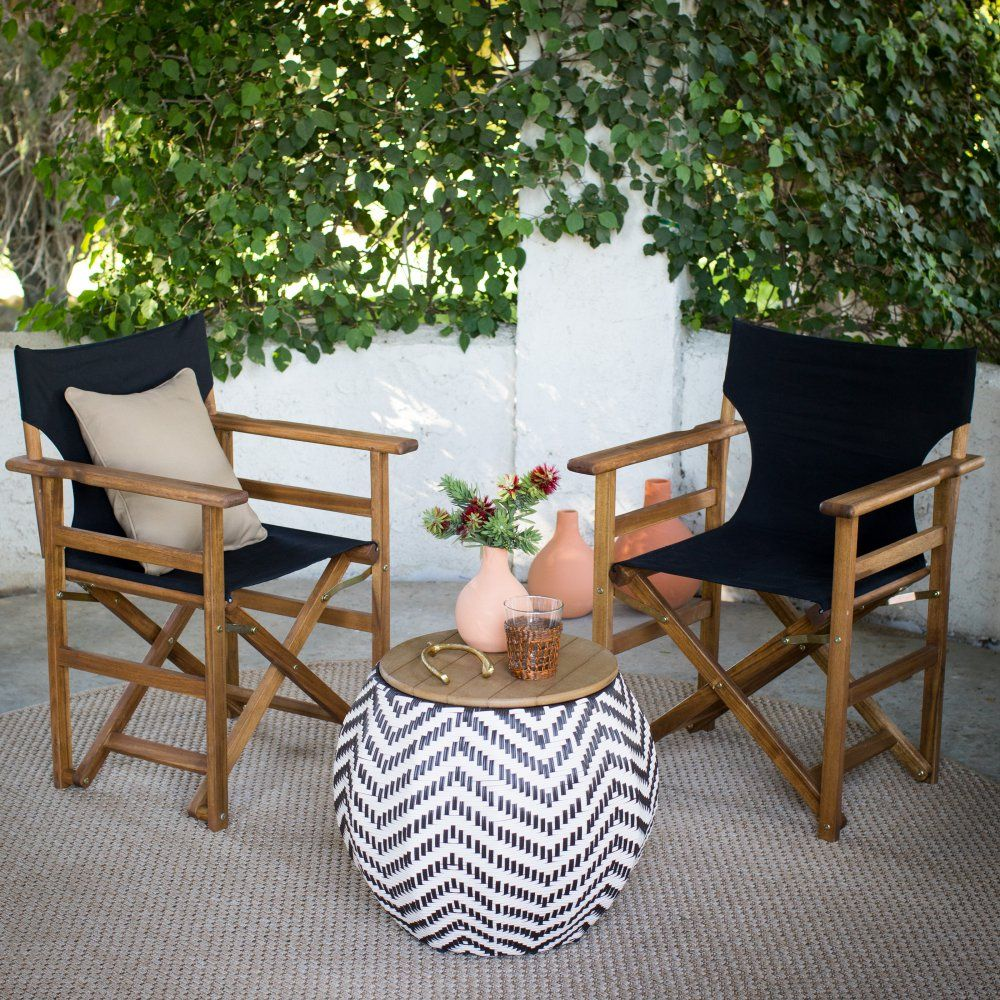 Coral Coast Outdoor Directors Chairs With Mayotte Storage Table