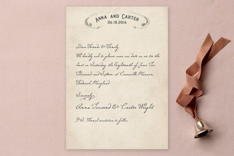 Vintage Letter Save the Date Cards Sheavid Wedding ideas - Formal Invitation Letters