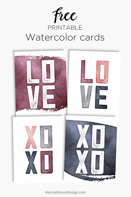 Freebies   Free printable cards, Valentines watercolor ...