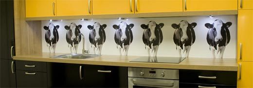 Our Pimped Kitchens Section Shows You Our Splashback Designs In A Finished  Kitchen: Our Cows In Black And White In A Showroom Setting