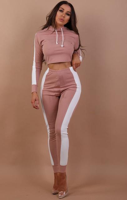 Womens Sport Suit Hoodies Sweatshirt Crop Tops Pants Set Tracksuit Lounge Wear