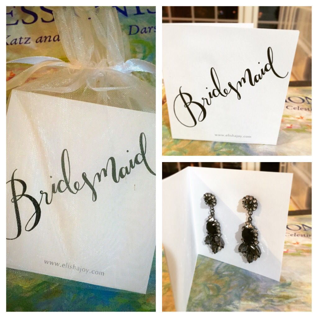Thank you for being my bridesmaid custom cards and jewelry by Elisha Joy Jewelry. Hand lettering by the Weathered Letter @pburczynski