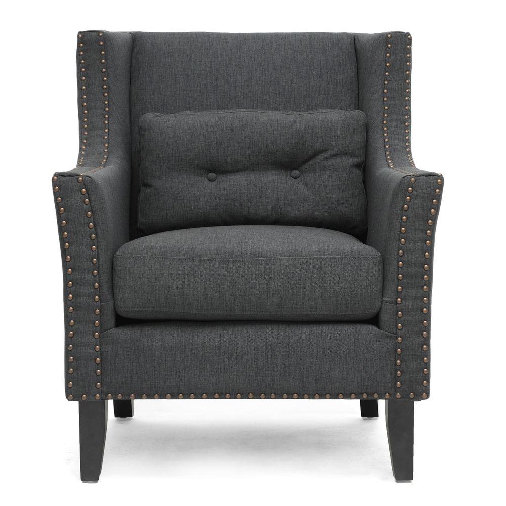 Albany Dark Gray Linen Modern Lounge Chair | Overstock.com Shopping   The  Best Deals