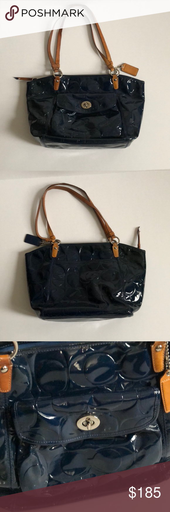 e2deb36e29 Coach bag Patent leather navy blue logo Coach bag with front clasp pocket  and back pocket. Lining has small stain above inside pocket.