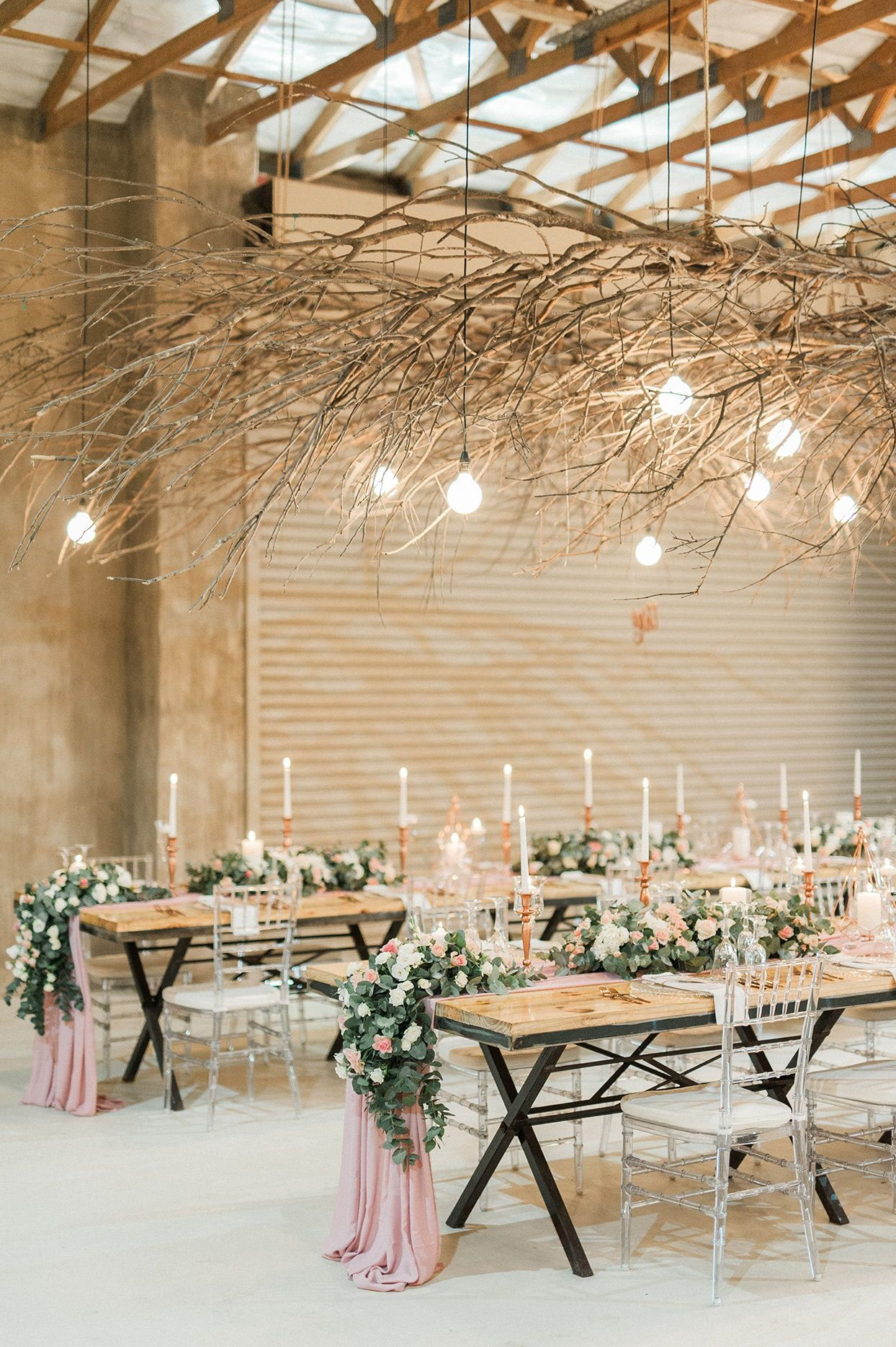A Trend We Re Loving Twig And Branch Wedding Decor Branches Wedding Decor Wedding Branches Romantic Rustic Wedding