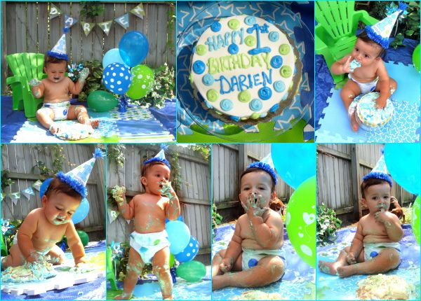 Dariens First 1st Birthday Bday Smash Cake Session Baby Toddler Boy Green Blue Easy Cheap Home