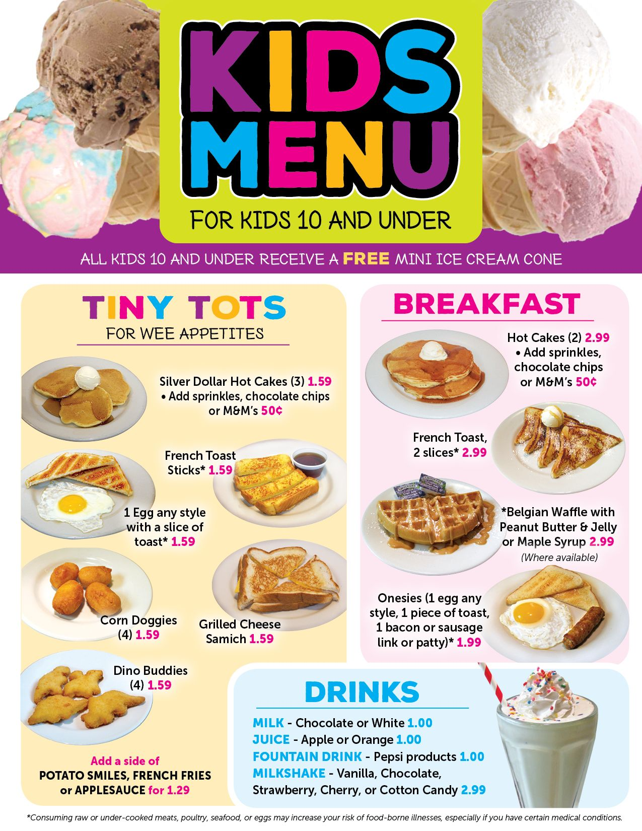 Valley Dairy Restaurants Kids Menu  Kids Menu    Kids