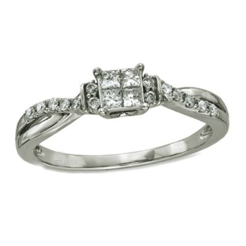 1/4 CT. T.W. Princess Cut Diamond Wave Promise Engagement Ring in 10K White Gold #Affinityjewelry #Engagement