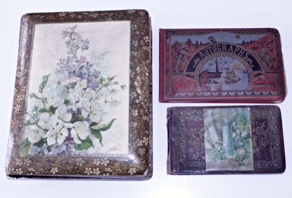 Antique 1880s Victorian Photo Album w/Pictures & Autograph Books Oneida Cty, NY