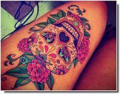 Tatouage Tete De Mort Mexicaine Cuisse Femme Tattoo Tattoos