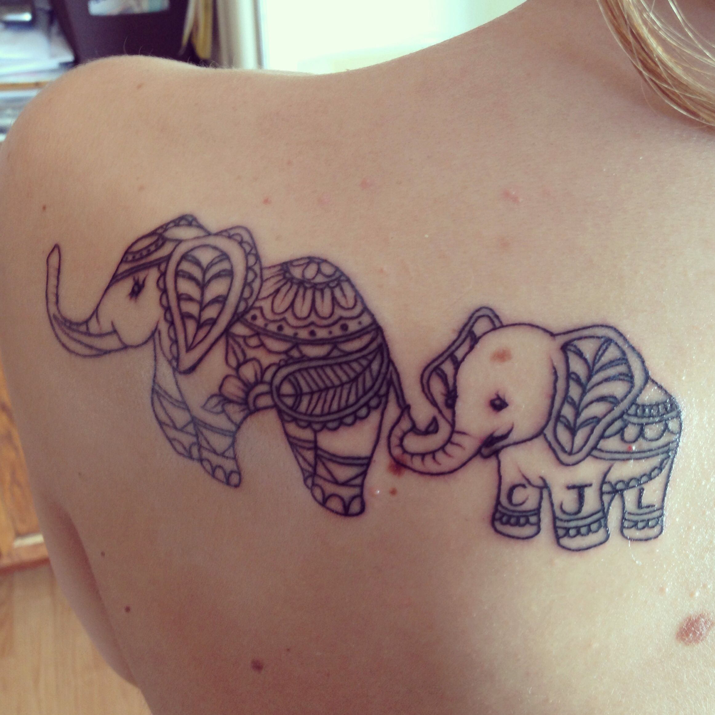 Elephant tattoo mother and son initials tattoos for Mother son tattoos ideas