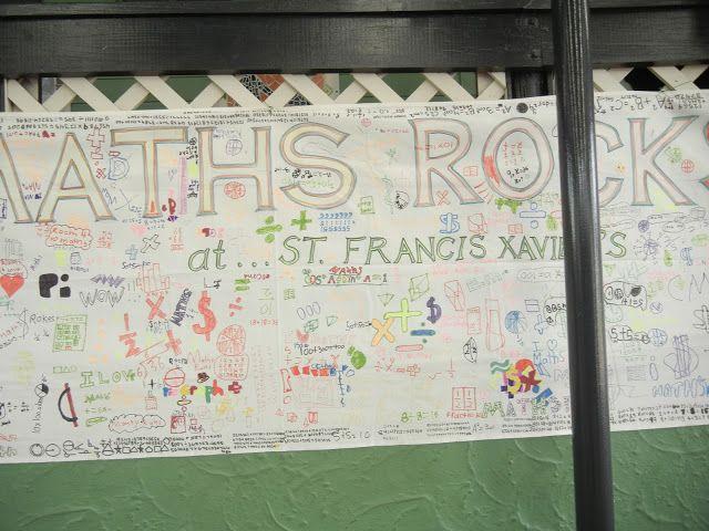 maths graffiti wall students
