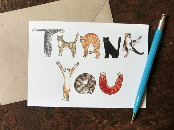 Cats Thank you greeting card.