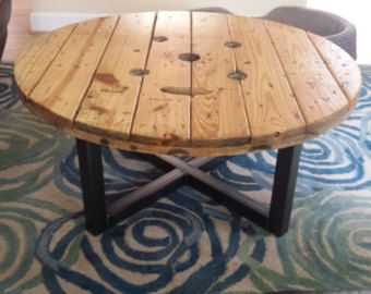 corning industrial cable spool coffee table | garage bar, tables