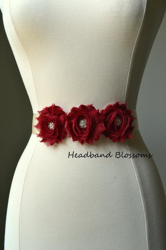97f8959447 Flower Girl Bridesmaid Dark Red Chiffon Flower Sash Sash - Wedding Belt -  Satin Ribbon Sash - Accessories Prom Bridal Ivory White Burgundy