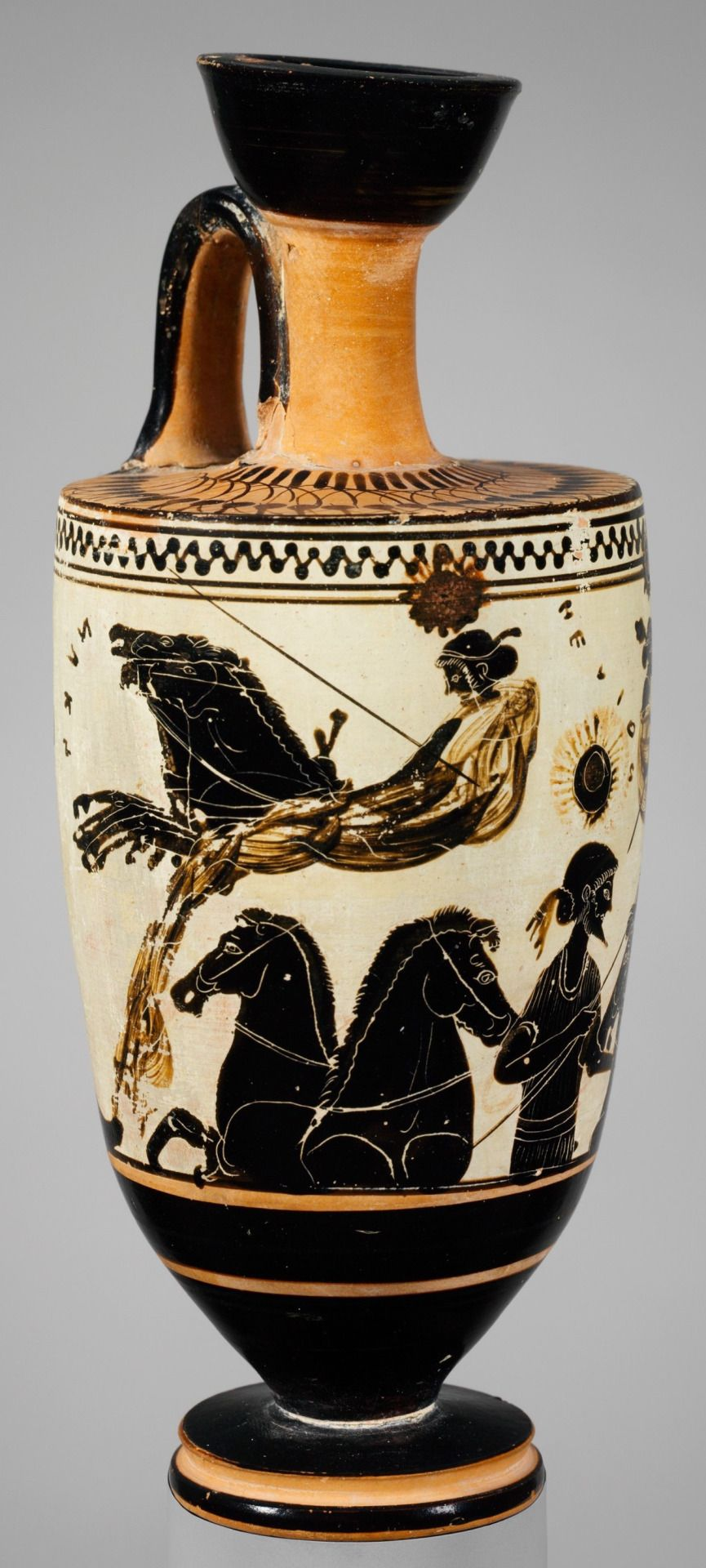 Four Views Of A White Ground Lekythos Attributed To The Sappho Painter Greek Attic Archaic Period C 500 B C Terracotta Metr Greek Pottery Pottery Art