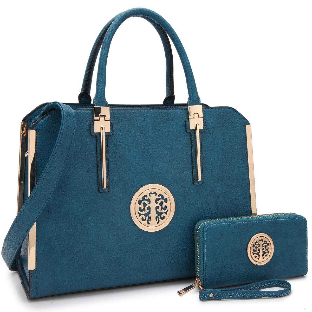 b4a67dea110d Large Satchel Handbag Designer Purse Wallet Set Top Handle Shoulder Bag 2  pieces - 7555-dark Beige - CA186GMAUT5