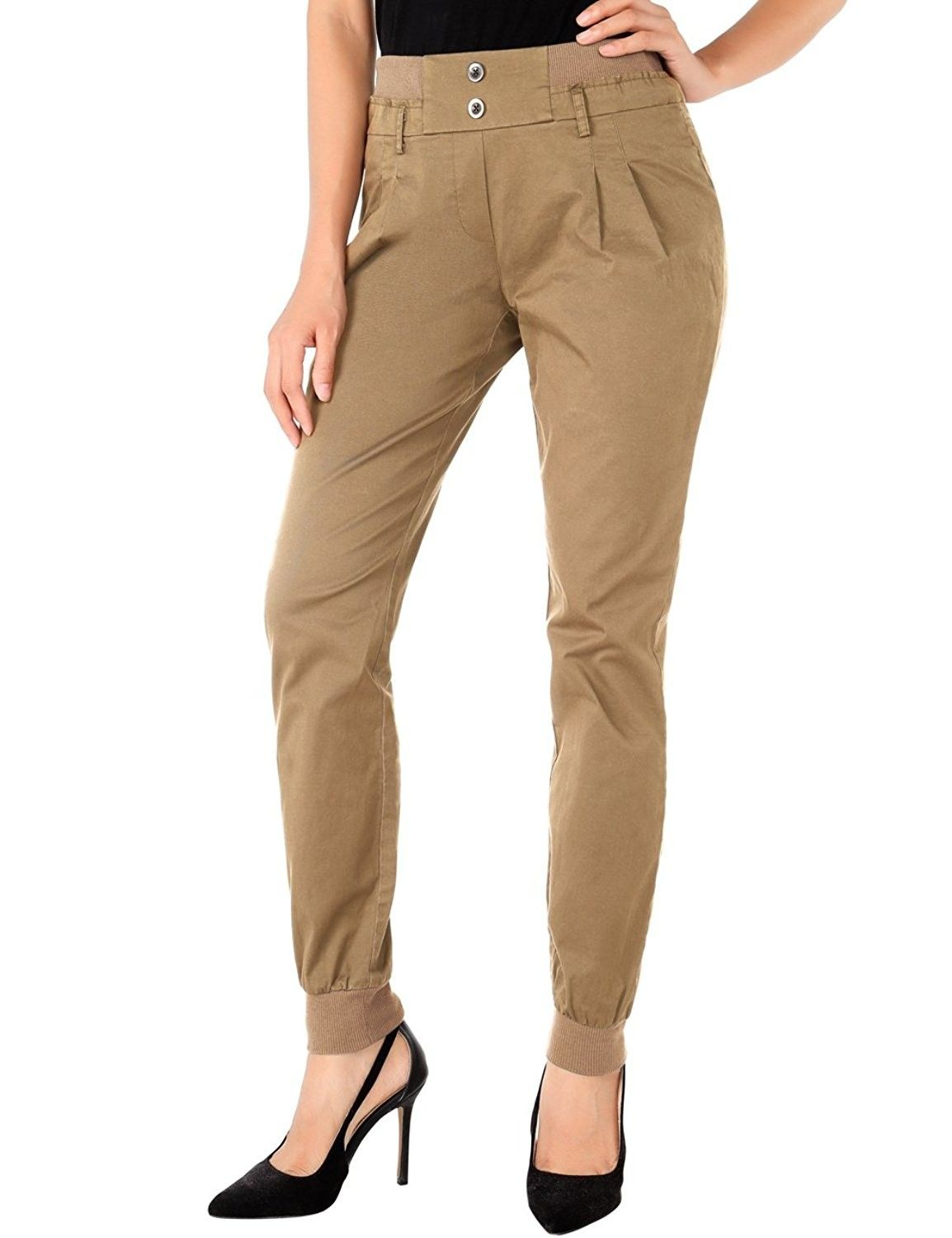genuine elegant shoes the cheapest Slim Fit Womens Chino Pants Casual Twill Stretch Pant ...