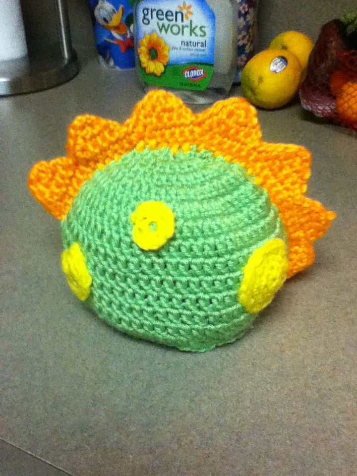 Baby Dinosaur Hat... I modified the Kid\'s Dragon Hat to be without a ...