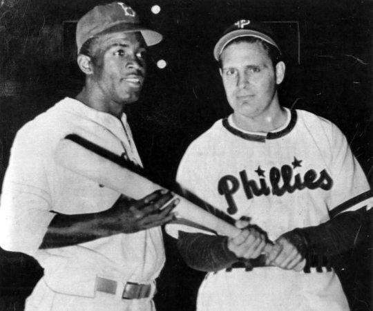 6ee8ec05cdf 1947 Jackie Robinson taking a photo with Ben Chapman