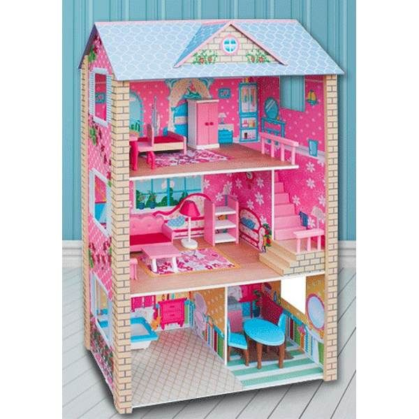 Large Wooden Dolls Doll House 3 Level Kids Pretend Play Toys Full Furniture Wooden Dollhouse Large Wooden Dolls House Barbie Doll House