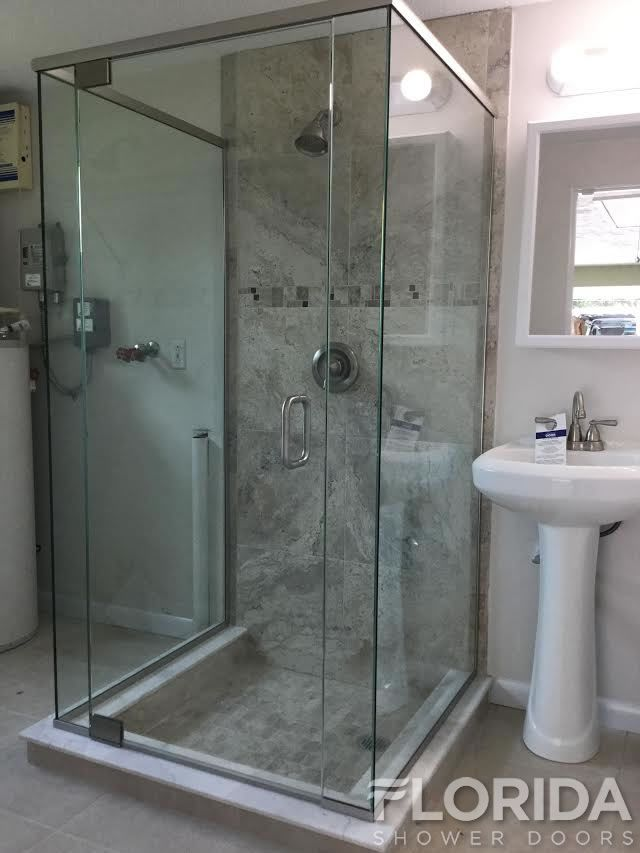 3 8 Frameless Pivot Top And Bottom Hinge Enclosure With Euro
