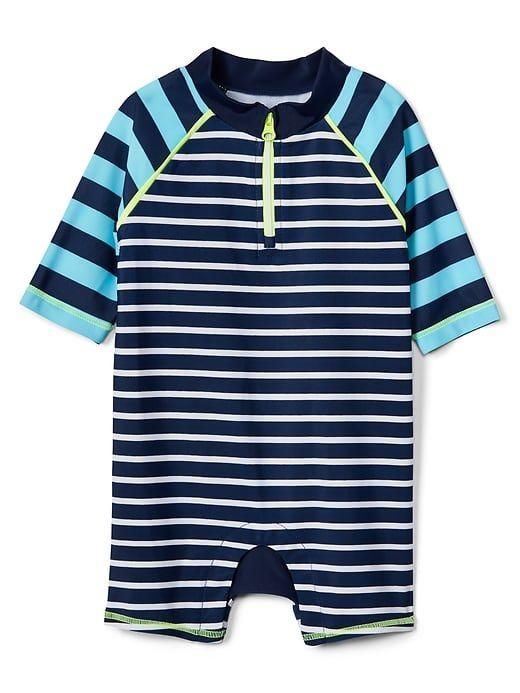 bf68001648 Gap Baby Stripe Shorty Rashguard One-Piece Blue Stripe Boys Swimwear, Baby  Gap,