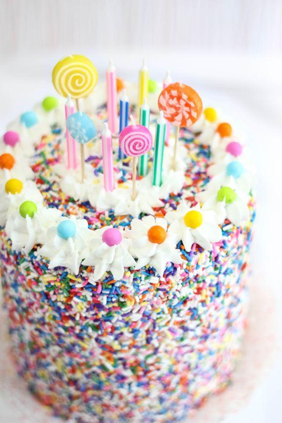 Sprinkled Covered Rice Krispies Birthday Cake Birthday Cakes