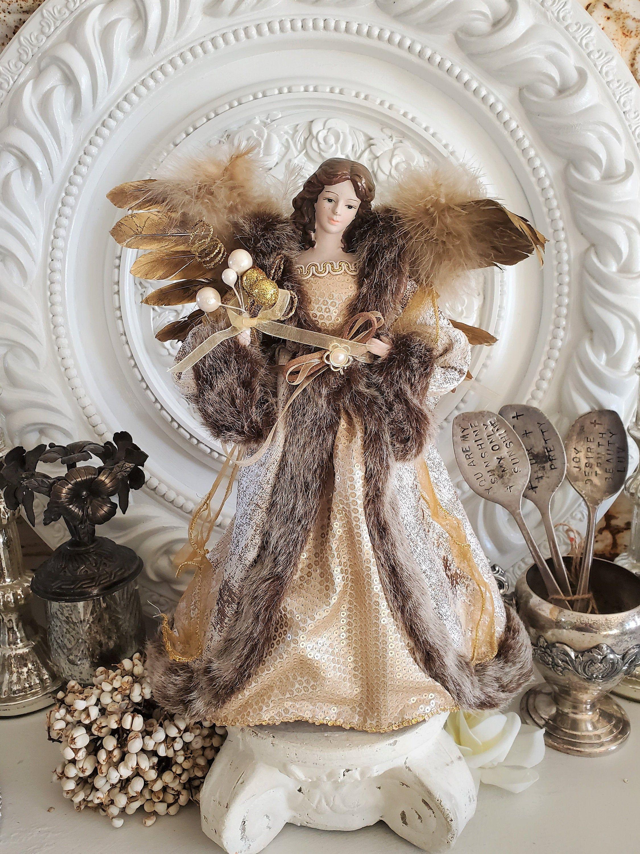 Fabulous Brunette Angel Figure Angel Tree Topper Vintage Etsy Angel Tree Topper Angel Tree Christmas Angels