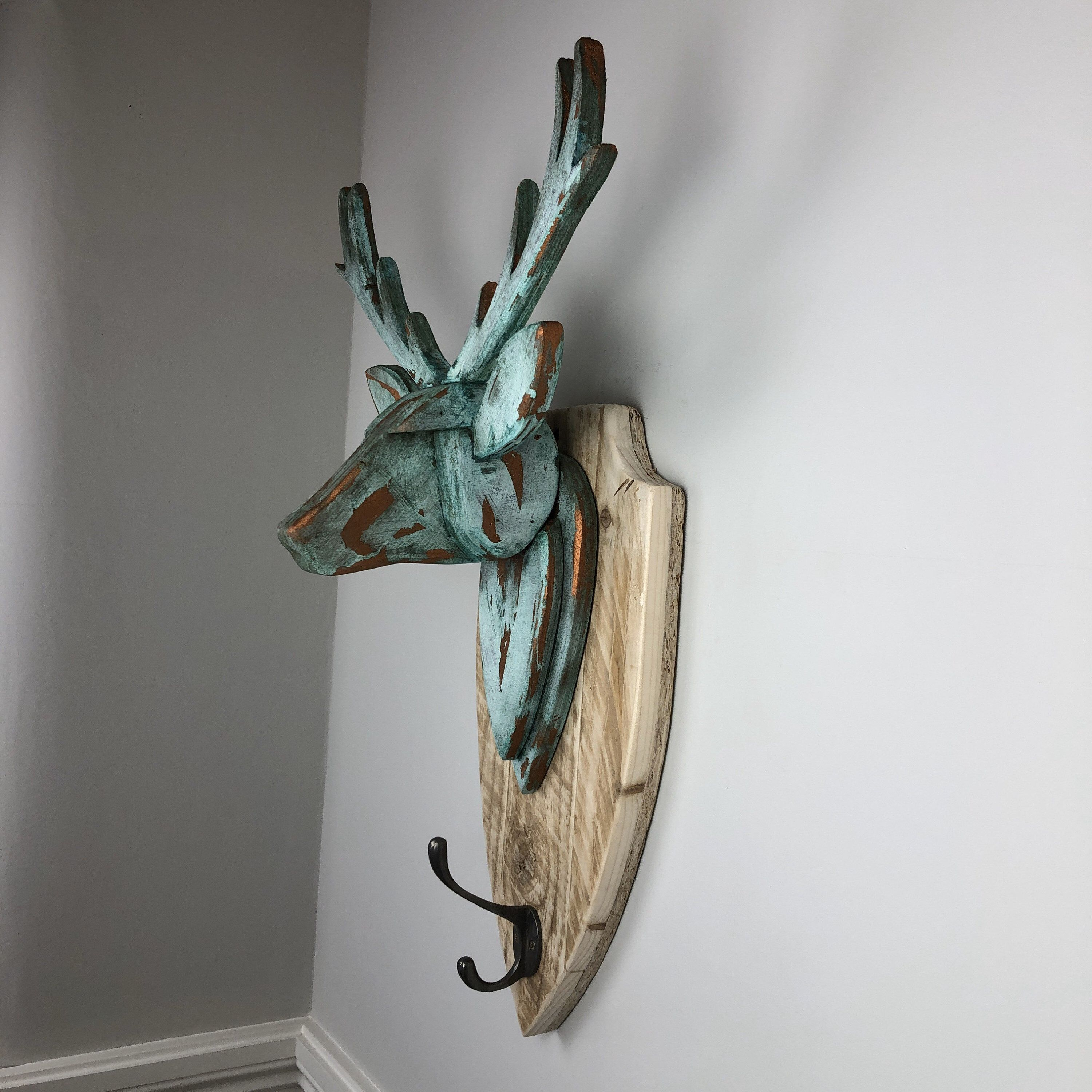 Stag Head Wall Mounted Hand Crafted Copper Verdigris Stag Etsy In 2020 Reclaimed Timber Deer Wall Mount Deer Heads Wall