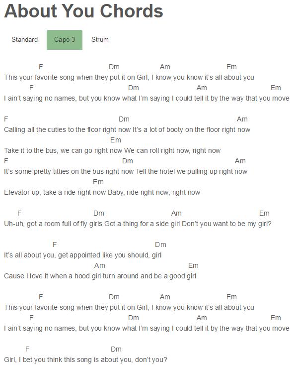 About You Chords Trey Songz Capo 3 Ukulele Pinterest Trey