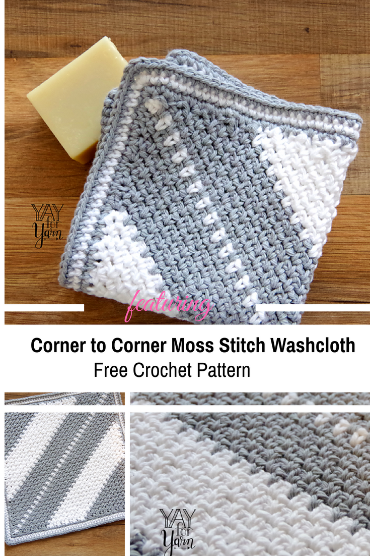 Corner to Corner Moss Stitch Washcloth -Soft And Beautiful