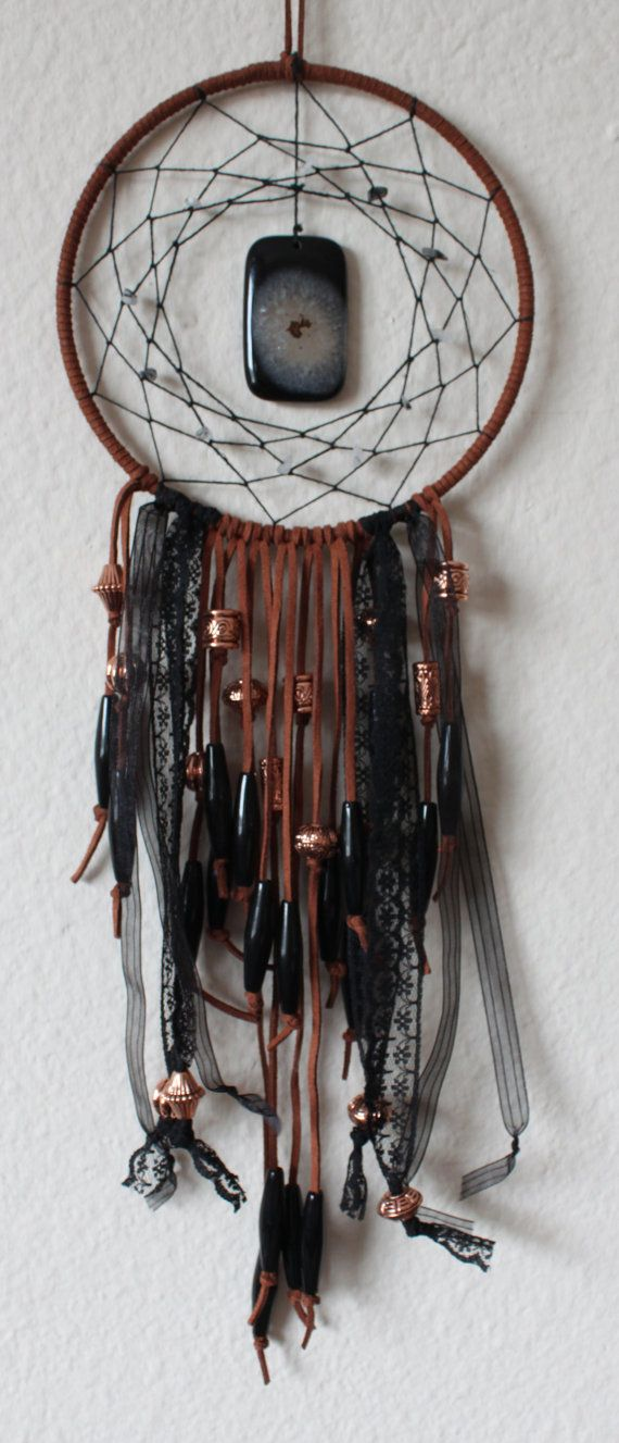 Brown and Black Dream Catcher with an Agate by GypsySoulDreaming