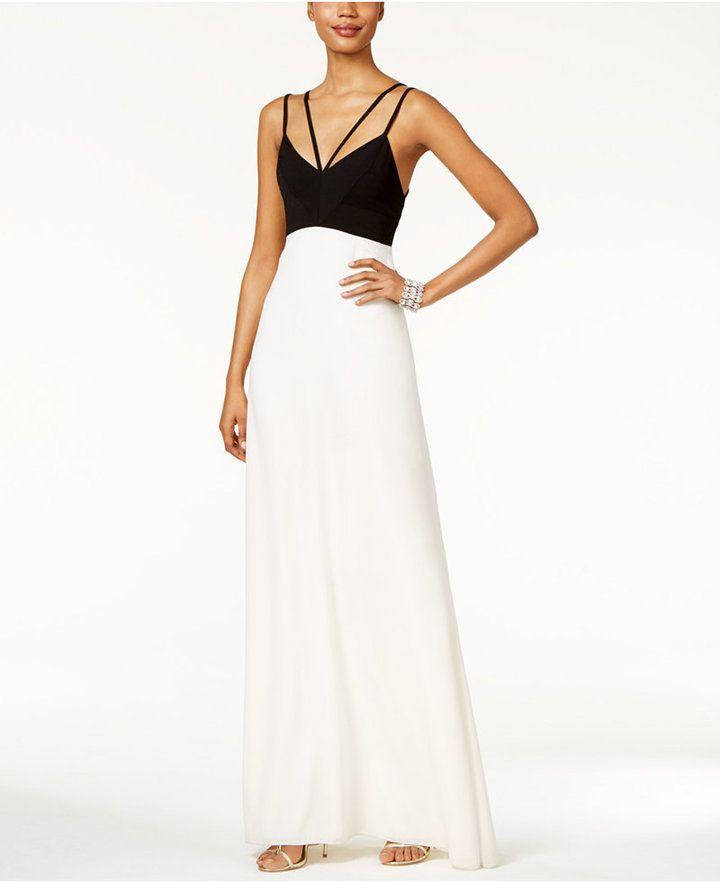 Jill Jill Stuart Colorblocked Double-Strap Gown